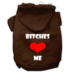 Mirage Pet Products Bitches Love Me Screen Print Pet Hoodies Brown Size XS (8)