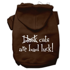 Mirage Pet Products Black Cats are Bad Luck Screen Print Pet Hoodies Brown Size Sm (10)