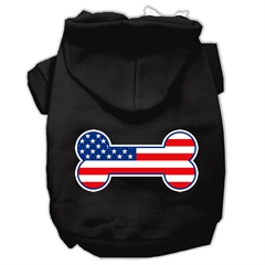 Mirage Pet Products Bone Shaped American Flag Screen Print Pet Hoodies Black Size Med (12)