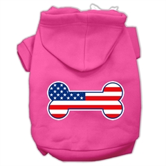 Mirage Pet Products Bone Shaped American Flag Screen Print Pet Hoodies Bright Pink Size L (14)
