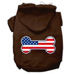Mirage Pet Products Bone Shaped American Flag Screen Print Pet Hoodies Brown Size L (14)