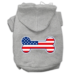 Mirage Pet Products Bone Shaped American Flag Screen Print Pet Hoodies Grey Size XXXL(20)