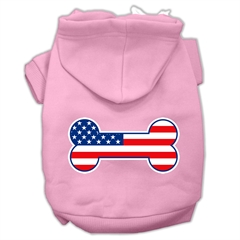 Mirage Pet Products Bone Shaped American Flag Screen Print Pet Hoodies Light Pink Size S (10)