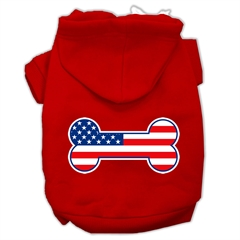 Mirage Pet Products Bone Shaped American Flag Screen Print Pet Hoodies Red Size XXXL (20)