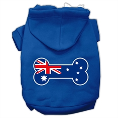 Mirage Pet Products Bone Shaped Australian Flag Screen Print Pet Hoodies Blue Size Sm (10)