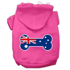 Mirage Pet Products Bone Shaped Australian Flag Screen Print Pet Hoodies Bright Pink Size M (12)
