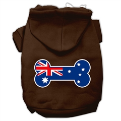 Mirage Pet Products Bone Shaped Australian Flag Screen Print Pet Hoodies Brown Size XS (8)