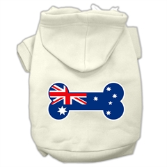 Mirage Pet Products Bone Shaped Australian Flag Screen Print Pet Hoodies Cream Size XS (8)