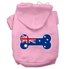 Mirage Pet Products Bone Shaped Australian Flag Screen Print Pet Hoodies Light Pink Size S (10)