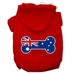 Mirage Pet Products Bone Shaped Australian Flag Screen Print Pet Hoodies Red Size XS (8)
