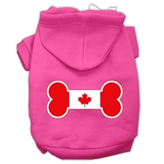 Mirage Pet Products Bone Shaped Canadian Flag Screen Print Pet Hoodies Bright Pink XXXL(20)