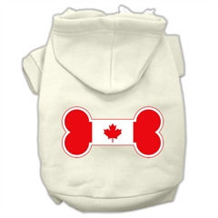 Mirage Pet Products Bone Shaped Canadian Flag Screen Print Pet Hoodies Cream XS (8)