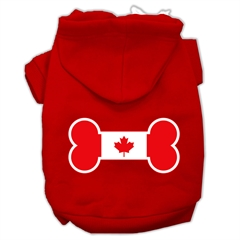 Mirage Pet Products Bone Shaped Canadian Flag Screen Print Pet Hoodies Red XXXL(20)