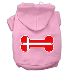 Mirage Pet Products Bone Shaped Denmark Flag Screen Print Pet Hoodies Light Pink Size S (10)
