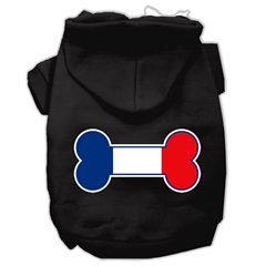 Mirage Pet Products Bone Shaped France Flag Screen Print Pet Hoodies Black S (10)