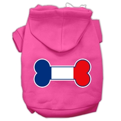Mirage Pet Products Bone Shaped France Flag Screen Print Pet Hoodies Bright Pink Size M (12)