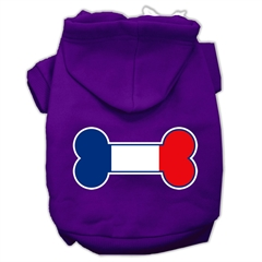 Mirage Pet Products Bone Shaped France Flag Screen Print Pet Hoodies Purple Size L (14)