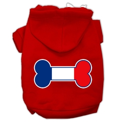 Mirage Pet Products Bone Shaped France Flag Screen Print Pet Hoodies Red Size XL (16)