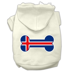 Mirage Pet Products Bone Shaped Iceland Flag Screen Print Pet Hoodies Cream Size S (10)