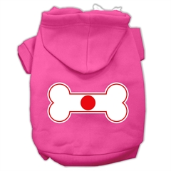 Mirage Pet Products Bone Shaped Japan Flag Screen Print Pet Hoodies Bright Pink Size XS (8)