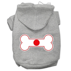 Mirage Pet Products Bone Shaped Japan Flag Screen Print Pet Hoodies Grey XS (8)