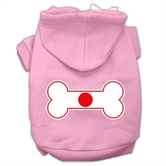 Mirage Pet Products Bone Shaped Japan Flag Screen Print Pet Hoodies Light Pink Size M (12)