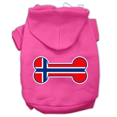 Mirage Pet Products Bone Shaped Norway Flag Screen Print Pet Hoodies Bright Pink Size S (10)