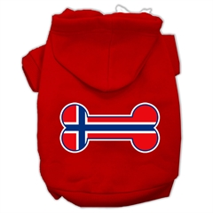 Mirage Pet Products Bone Shaped Norway Flag Screen Print Pet Hoodies Red Size XS (8)