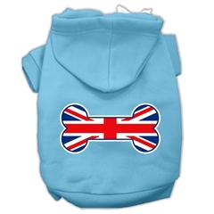 Mirage Pet Products Bone Shaped United Kingdom (Union Jack) Flag Screen Print Pet Hoodies Baby Blue Size Med (12)