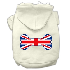 Mirage Pet Products Bone Shaped United Kingdom (Union Jack) Flag Screen Print Pet Hoodies Cream Size S (10)