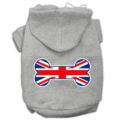 Mirage Pet Products Bone Shaped United Kingdom (Union Jack) Flag Screen Print Pet Hoodies Grey XL (16)