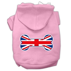 Mirage Pet Products Bone Shaped United Kingdom (Union Jack) Flag Screen Print Pet Hoodies Light Pink Size XL (16)