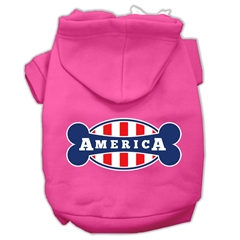 Mirage Pet Products Bonely in America Screen Print Pet Hoodies Bright Pink Size Lg (14)