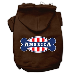 Mirage Pet Products Bonely in America Screen Print Pet Hoodies Brown Size Lg (14)
