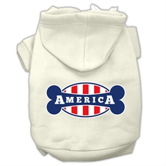 Mirage Pet Products Bonely in America Screen Print Pet Hoodies Cream Size Med (12)