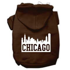 Mirage Pet Products Chicago Skyline Screen Print Pet Hoodies Brown Size Med (12)
