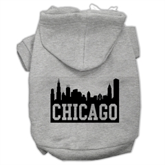 Mirage Pet Products Chicago Skyline Screen Print Pet Hoodies Grey Size XXXL (20)