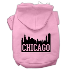 Mirage Pet Products Chicago Skyline Screen Print Pet Hoodies Light Pink Size Lg (14)