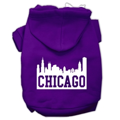 Mirage Pet Products Chicago Skyline Screen Print Pet Hoodies Purple Size Med (12)