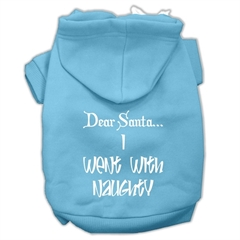 Mirage Pet Products Dear Santa I Went with Naughty Screen Print Pet Hoodies Baby Blue Size Med (12)