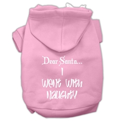 Mirage Pet Products Dear Santa I Went with Naughty Screen Print Pet Hoodies Light Pink Size XL (16)