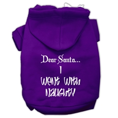 Mirage Pet Products Dear Santa I Went with Naughty Screen Print Pet Hoodies Purple Size Sm (10)