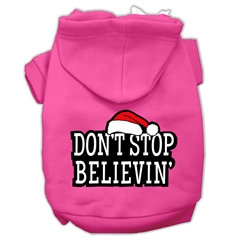 Mirage Pet Products Don't Stop Believin' Screenprint Pet Hoodies Bright Pink Size S (10)