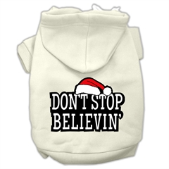 Mirage Pet Products Don't Stop Believin' Screenprint Pet Hoodies Cream Size XL (16)