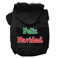 Mirage Pet Products Feliz Navidad Screen Print Pet Hoodies Black XS (8)