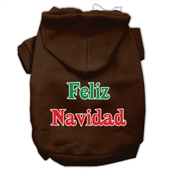 Mirage Pet Products Feliz Navidad Screen Print Pet Hoodies Brown S (10)