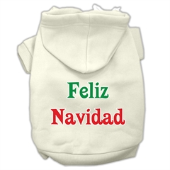 Mirage Pet Products Feliz Navidad Screen Print Pet Hoodies Cream Size XL (16)