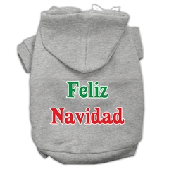 Mirage Pet Products Feliz Navidad Screen Print Pet Hoodies Grey L (14)