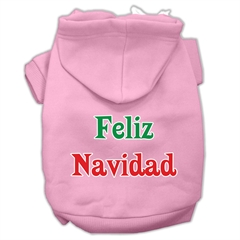 Mirage Pet Products Feliz Navidad Screen Print Pet Hoodies Light Pink XS (8)