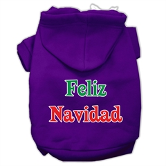 Mirage Pet Products Feliz Navidad Screen Print Pet Hoodies Purple XS (8)